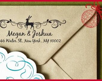 Merry Christmas Custom Self Inking Address Stamp, Custom Address Stamp, Gift Tag, Custom Stamper, Address Stamp, Christmas gift Holiday 4