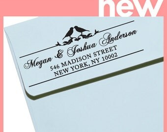 "CUSTOM ADDRESS STAMP - Eco Friendly & self inking, gifts for wedding, housewarming, etsy labels, return address stamp ""Love Birds2"""