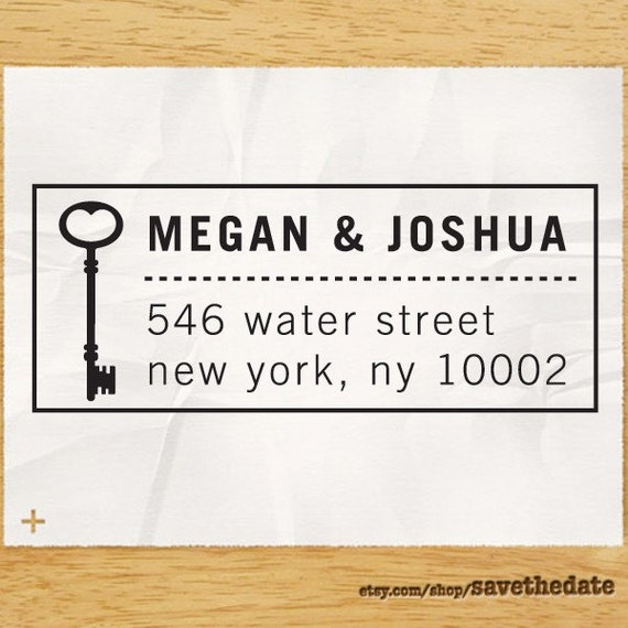 "Personalized Eco Friendly Self Inking Address Stamp Wedding Gift, Return Address, Etsy Shop Labels ""Key1"""