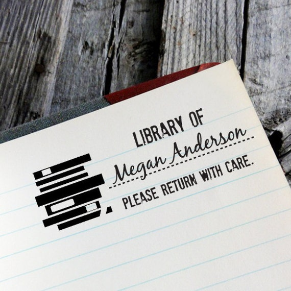"CUSTOM LIBRARY self inking stamp, personalized Eco Friendly Self Inking Stamp Library, book worm, Holiday Gifts, Etsy Shop Label ""Library1"""