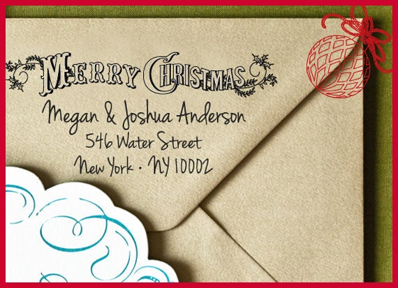 Merry Christmas Custom Self Inking Address Stamp, Custom Address Stamp, Gift Tag, Custom Stamp, Address Stamp, Christmas gift Holiday Gift 7