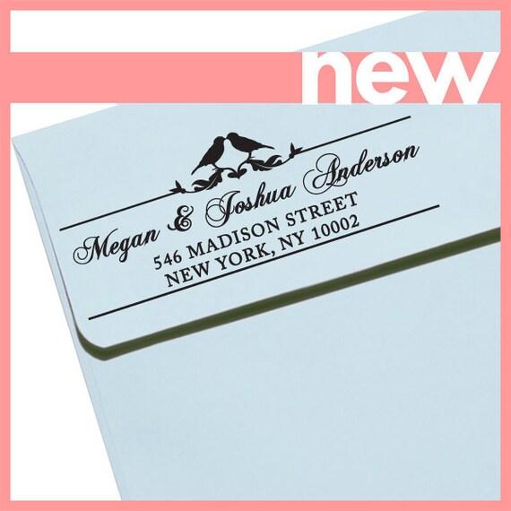 "CUSTOM ADDRESS STAMP - Eco Friendly & self inking, gifts for wedding, housewarming, etsy labels, return address stamp ""Love Birds2"""