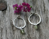 Flower Girl Present, Teensy Tiny Hammered Sterling Hoops with Gemstones