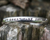 Sterling Silver Baby Cuff - PERSONALISED - handwritten or block