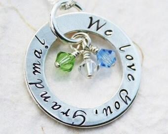 Grandmother Necklace - Eternity Circle - Grandmother Christmas Gift for Grandma