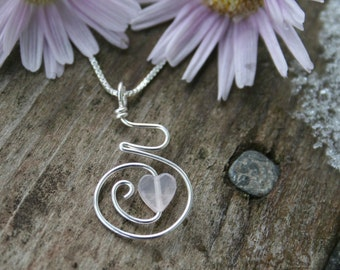 Midwife Gift - Pregnancy Pendant Necklace, Sterling with Rose Quartz Heart