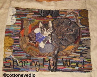 Sharing My Wool rug hooking pattern on linen background.