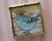 Shabby Chic Blue Bird with Crown  Soldered Charm Pendant