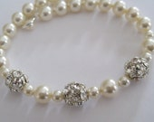 Bridal Jewelry Wedding Jewelry Bridal Accessoies Bride Bridesmaids Rhinestone Pearl bracelet
