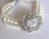 Bridal Jewelry - Bridesmaids - Rhinestone Brooch - Pearls Bracelet Collection Oval - bridal accessories - wedding jewelry