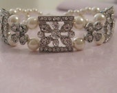 Bride - Bridesmaids - Rhinestone Spacers Pearl Bracelet with matching earrings Bridal Jewelry Bridal Accessories