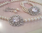 Bridal Brooch Collection Jewelry Set Bridal Rhinestone Brooch Pearl Necklace Bracelet and Earrings Set Bridal Jewelry