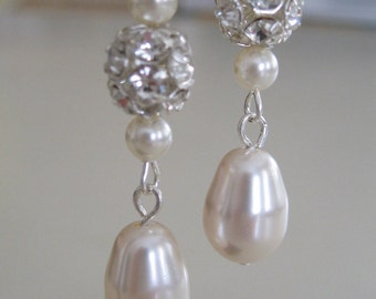 Bridal Jewelry Bridal Accessories Wedding Jewelry Rhinestone cluster with bell shape pearl earrings Bride Earrings