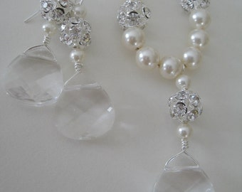 Bridal jewelry- Bridal Accessories - Brides - Bridesmaids - Swarovski Briolette and Pearls Necklace Earrings set