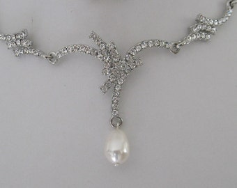 Bridal Jewelrly Bridal Accessories Bridal Rhinestone with Pearls Necklace Earrings Set Wedding Jewelry