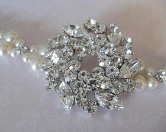 Bride Bridesmaids Rhinestone Brooch Pearl 2 strand Bracelet Collection Shine - Wedding Jewerly Bridal Jewelry Bridal Accessories