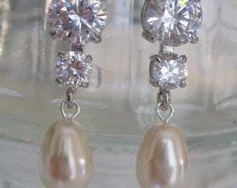 Bride - Bridesmaids - Rhinestone Earrings with Bell shape pearls Bridal Jewelry Bridal Accessories Wedding Jewelry