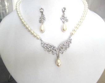 Bride-Bridesmaids- Pearl and Rhinestone Necklace set Roman Bridal Jewelry Bridal Accessories Wedding Jewelry