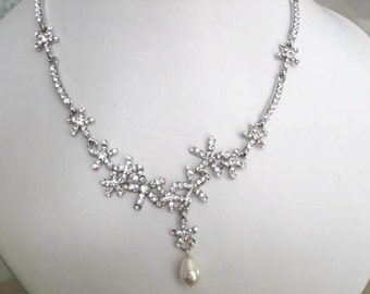 Bridal Jewelry - Bride Necklace - Bridesmaid Necklace - Rhinestone and Pearl Star Bridal Jewely Set