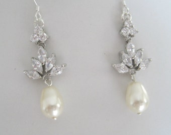 Bridal Jewelry- Wedding Jewelry-Bridal Accessories-Bride-Bridesmaids-Cubic Zirconia Crystal  and Pearl Earrings