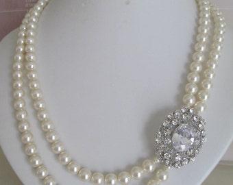 Bride-Bridesmaids-Rhinestone- Brooch-Pearl-Necklace 2 strands Vintage Pearl 2 strands necklace, Bridal Jewelry, Bridal Accessories