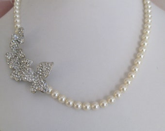 Bride - Bridesmaids - rhinestone - Pearl Necklace Brooch Collection Leaf Bridal jewelry Bridal Accessories