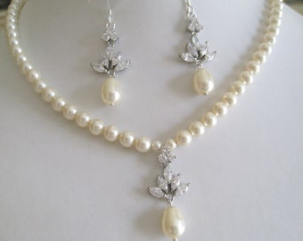 Bridal Jewelry Bridal Accessories Wedding Jewelry Bridal Crystal Leaf design with pearls neckalce and earrings set