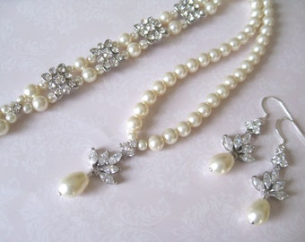 Bride - Bridesmaids - Crystal Leaf Rhinestone Pearls Neckalce - Earrings and 2 strand pearl bracelet set