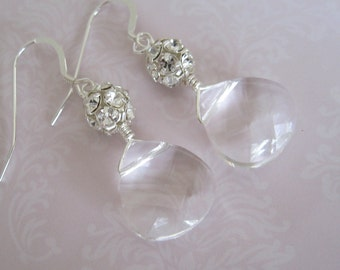 Swarovski Briolette with rhinestone cluster earrings Bridal Jewelry Bridal Accessories Wedding Jewelry Bridesmaids earrings