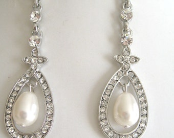 Bride - Bridesmaids - Rhinestone pearl Chandelier Earrings Collection Oval Bride Jewelry Bridal Accessories Wedding Jewelry