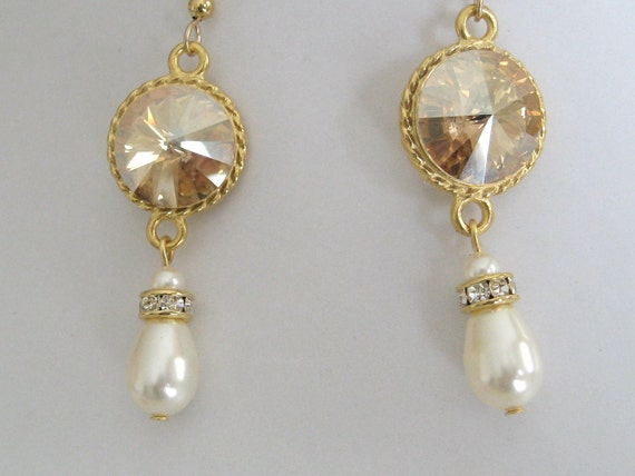 Bride - Bridesmaids - Wedding Party - Swarovski Golden Shade Crystal and Pearl Teardrop earrings