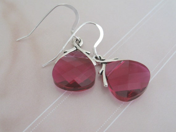 Bridesmaids Flat Briolette Ruby Crystal Earrings - Bridal Jewelry - Bridal Accessories