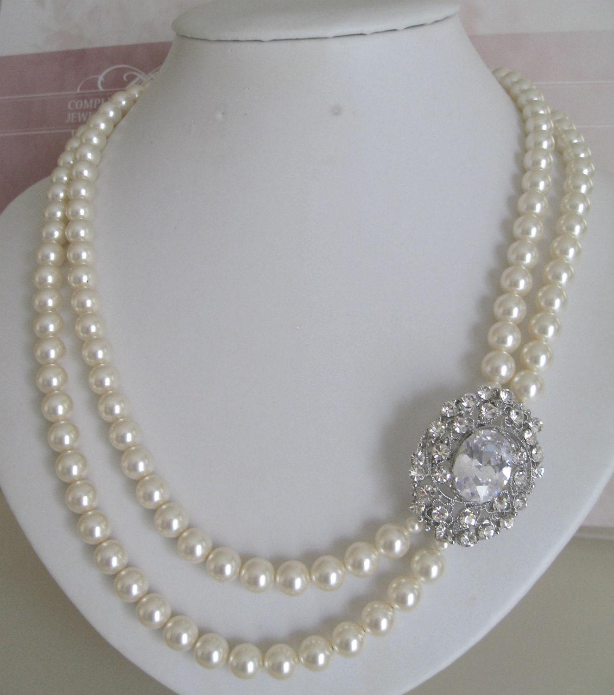 Bride Bridesmaids Rhinestone Brooch Pearl Necklace 2 strands