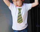 GREEN and BLACK  STRIPES neck tie applique on Fine Jersey tshirt ........... Great  Birthday outfit,church or any special ocassion