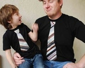 Featured on The Today Show.....FATHER and SON gift set........short Sleeves  Black  shirt with Burgundy  Stripes NECKTIE applique