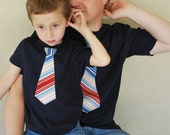 Featured on The Today Show......FATHER  and SON.........navy t shirt with  Nautical Stripes NECKTIE appliqué .....Adorable gift set