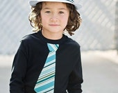 AQUA GREEN Striped NECKTIE appliqued on comfy rib tee........ Trendy and cool style for boys. ....Great church, wedding, birthday outfit