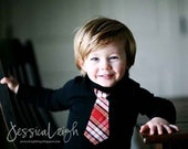 BLACK  BABY BODYSUIT with a  Red Plaid Necktie.... Very cute for holiday season.