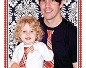 Father and  Son.................. White or Black  tees with a Red Plaid  NECK Tie applique.............Adorable GIFT SET