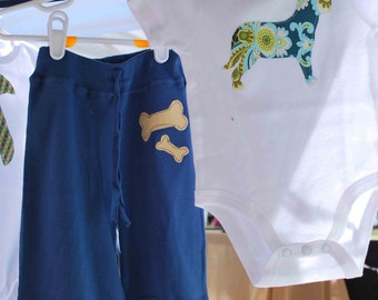 Short Sleeve Bodysuit with Dog appliqué and Yoga pants BABY GIFT SET  .....Makes a great Shower Gift