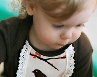 BROWN  BODYSUIT with an AVIARY dressy vintage style bib applique....... Adorable baby gift