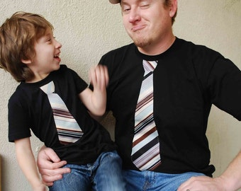FATHER and SON.............Short Sleeves  fine jersey Black Tee shirt  with Black and Burgundy  Stripes Necktie appliqué.......Gift setT