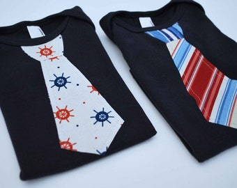 NAUTICAL GIFT SET............(2)NAVY short  Sleeve Bodysuits with a RED NAUTICAL  Necktie Applique........CUTE and COMFORTABLE BABY GIFT