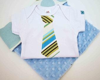 BABY GIFT SET.............BLUE SPLASH BABY BLANKET and  WHITE  SHORT SLEEVE  Bodysuit   with BLUE HAPPY STRIPES Necktie applique.- CUTE BABY SHOWER  GIFT