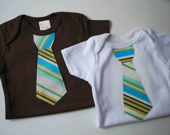 TWINS GIFT SET..  Short Sleeves Baby bodysuits  with a  Happy Stripes  Necktie appliqué......... Great baby shower gift, Homecoming outfit