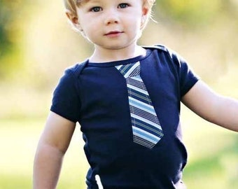 BABY LAP T with Blue Board Stripes NECKTIE appliqué ........short or long sleeves........Cute baby gift