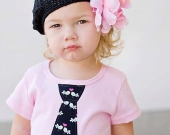 NEW PINK GIRLS COLLECTION........SHORT SLEEVES PINK TEE with a LOVE BIRDS NECKTIE APPLIQUE............. FUN and SPUNKY GIRL's SHIRT