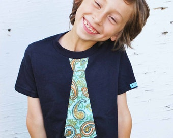 FUN PAISLEY NECKTIE appliqué shirt........Fun, comfortable and trendy kids shirt....Great Holiday season outfit