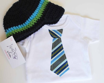BABY BOY GIFT  Set..... Blue Stripes Necktie applique  baby bodysuit and coordinating beanie...Great for pictures, church or birthday outfit