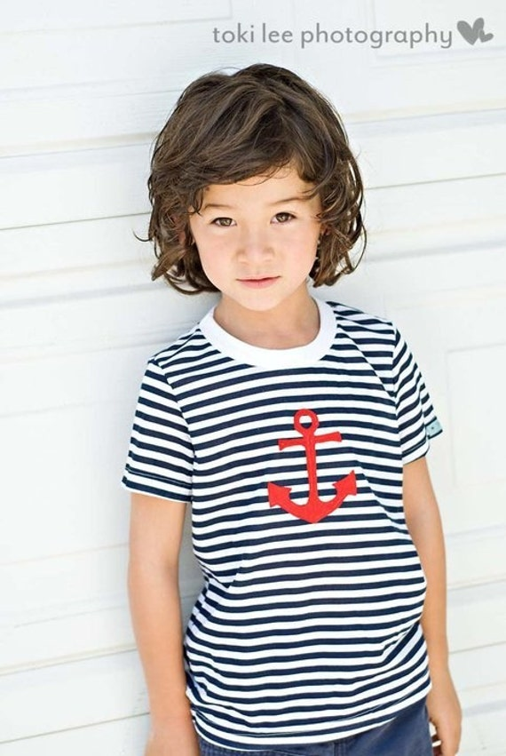 RED ANCHOR on NAUTICAL blue striped tee......Cute and classic style....Great summer outfit